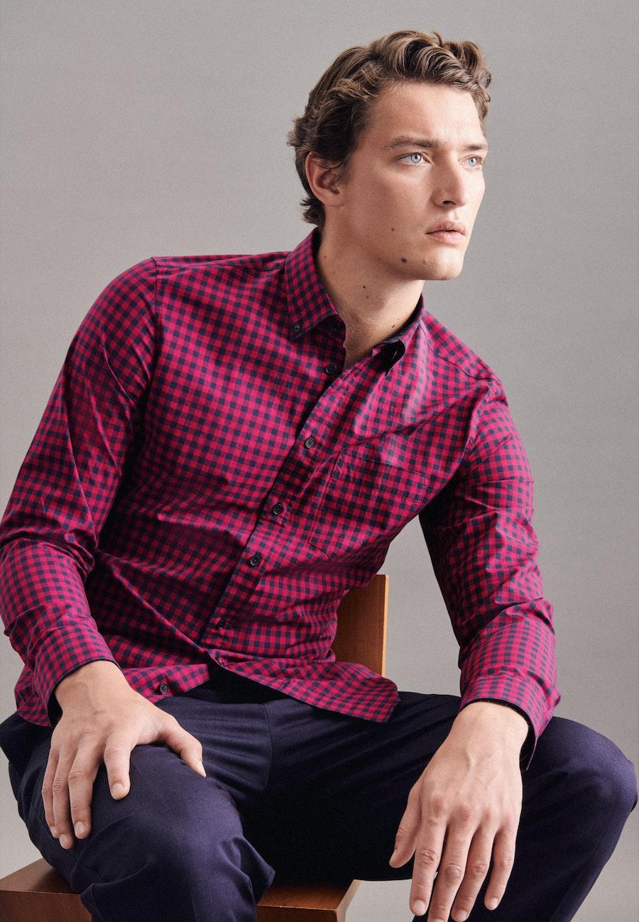 Popeline Business Hemd in Slim mit Button-Down-Kragen in Rot |  Seidensticker Onlineshop