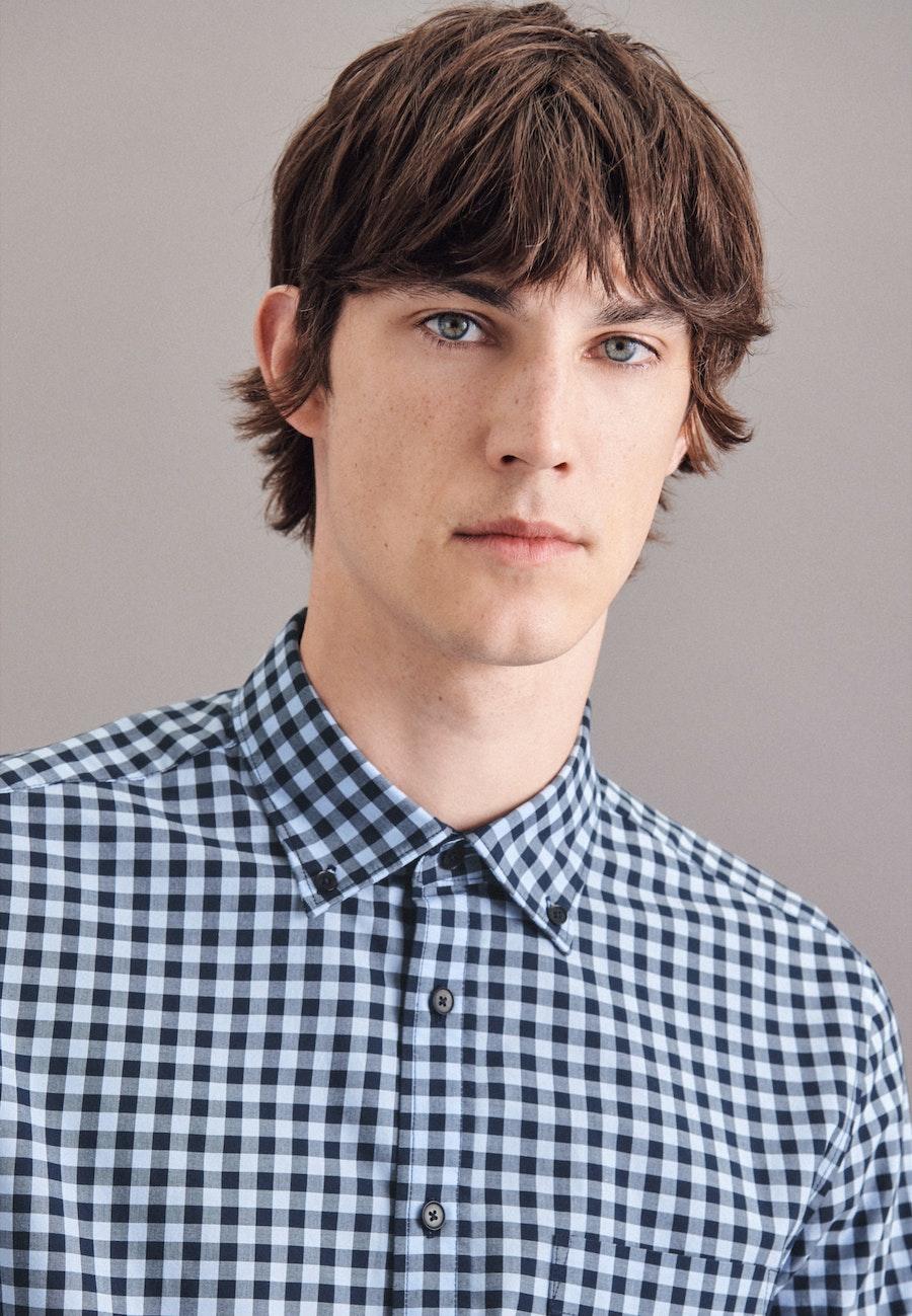 Popeline Business Hemd in Slim mit Button-Down-Kragen in Hellblau |  Seidensticker Onlineshop