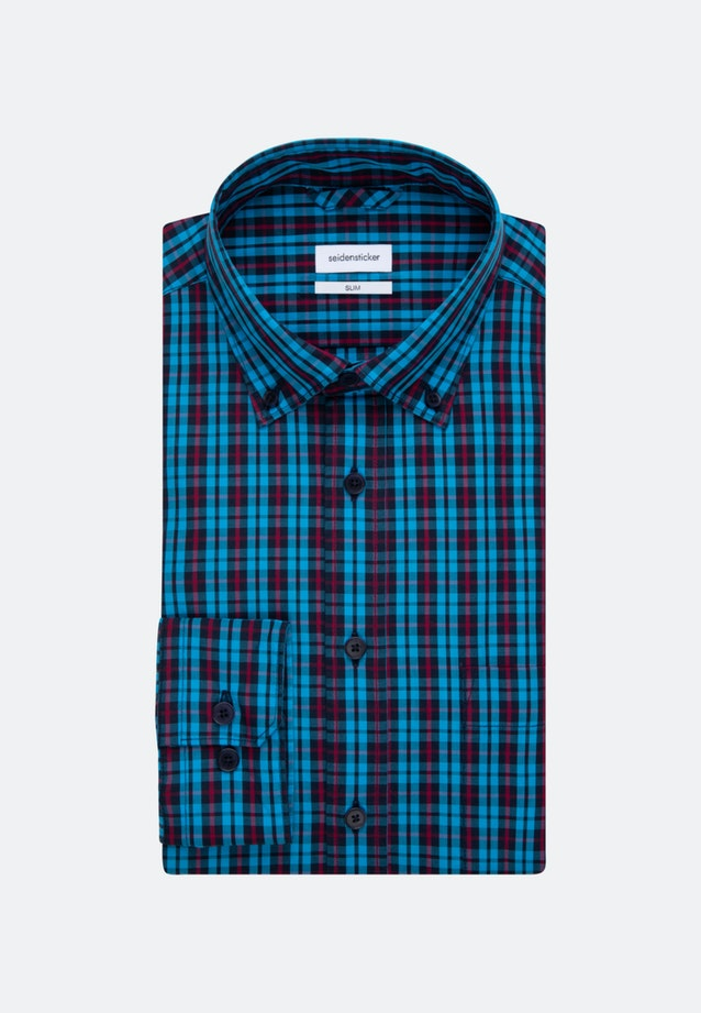 Easy-iron Popeline Business Shirt in Slim with Button-Down-Collar in Turquoise |  Seidensticker Onlineshop