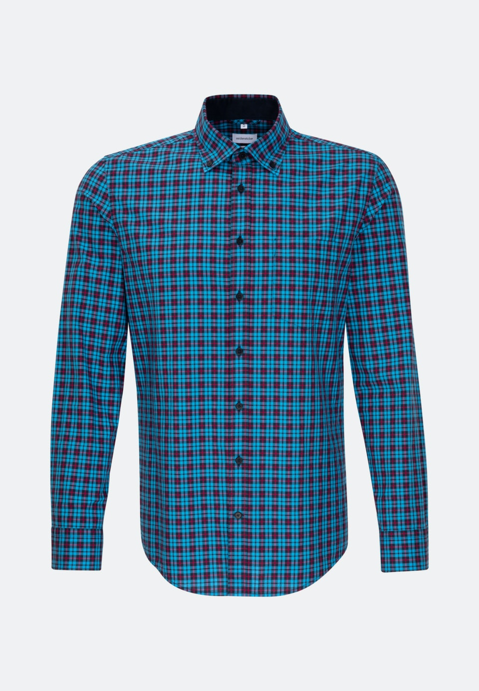Bügelleichtes Popeline Business Hemd in Slim mit Button-Down-Kragen in Türkis/Petrol |  Seidensticker Onlineshop