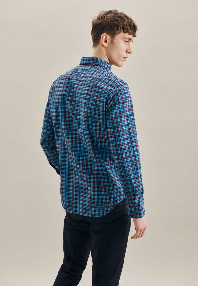 Easy-iron Popeline Business Shirt in Slim with Button-Down-Collar in Turquoise |  Seidensticker Onlineshop