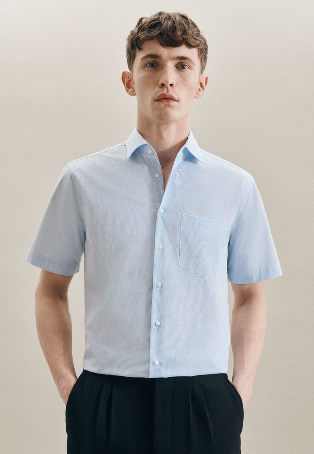 Non-iron Popeline Short sleeve Business Shirt in Regular with Kent-Collar in Turquoise |  Seidensticker Onlineshop