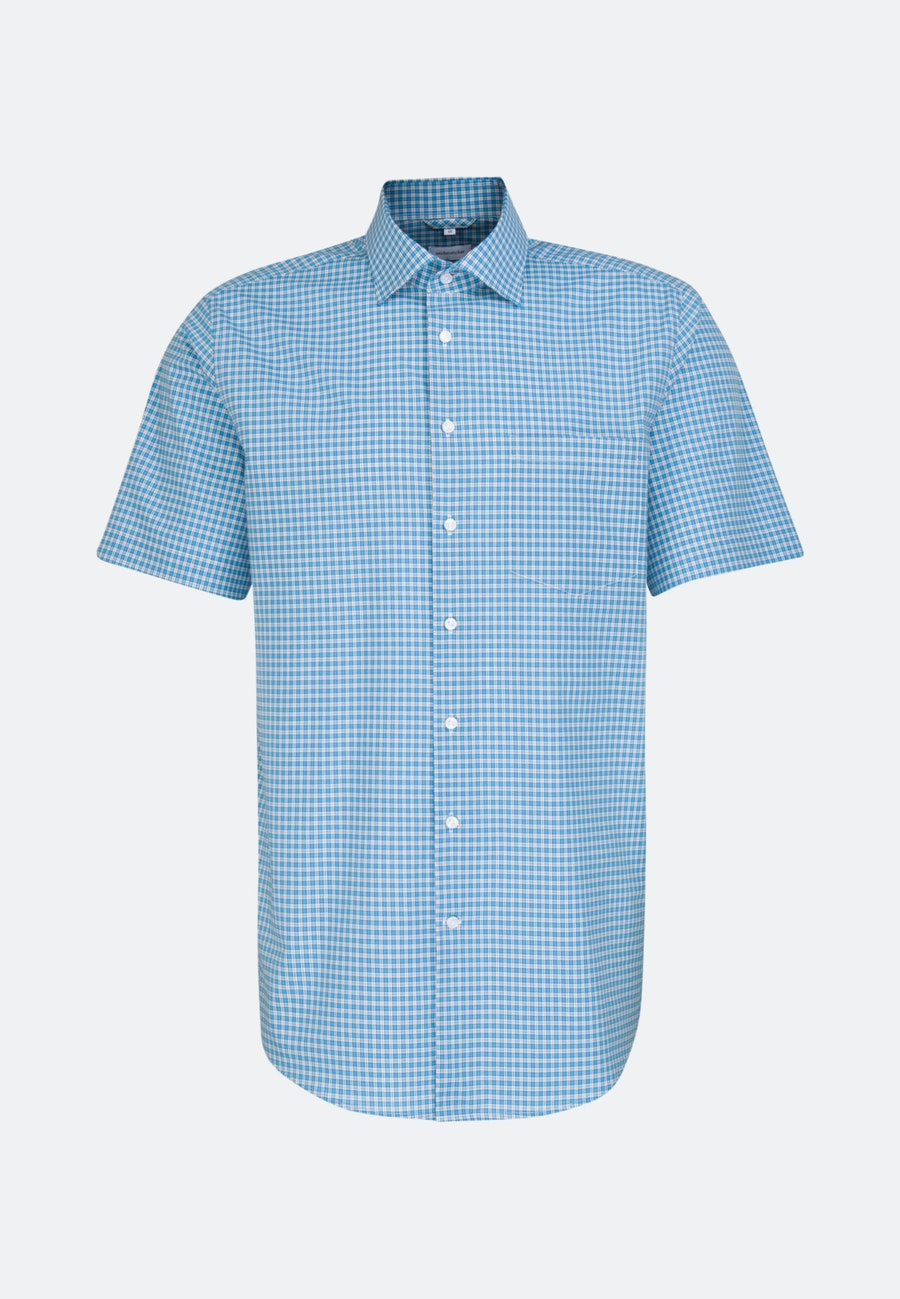 Non-iron Popeline Short sleeve Business Shirt in Regular with Kent-Collar in Turquoise |  Seidensticker Onlineshop