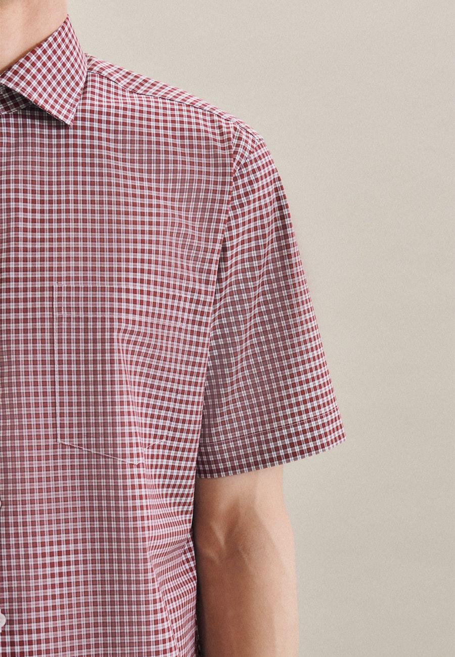 Non-iron Poplin Short sleeve Business Shirt in Regular with Kent-Collar in Red    Seidensticker Onlineshop