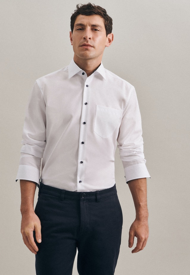 Non-iron Popeline Business Shirt in Regular with Kent-Collar in White |  Seidensticker Onlineshop