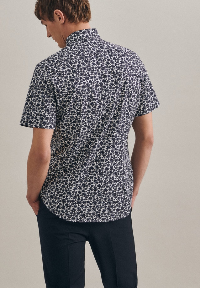 Easy-iron Popeline Short sleeve Business Shirt in Shaped with Kent-Collar in Dark blue |  Seidensticker Onlineshop