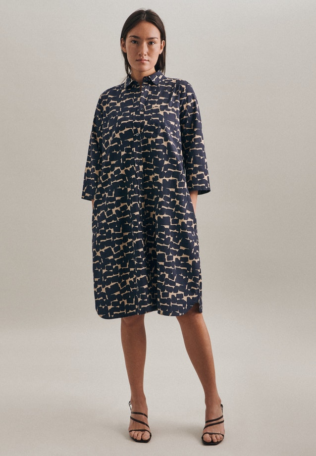 Popeline Midi Dress made of 100% Cotton in Dark blue |  Seidensticker Onlineshop