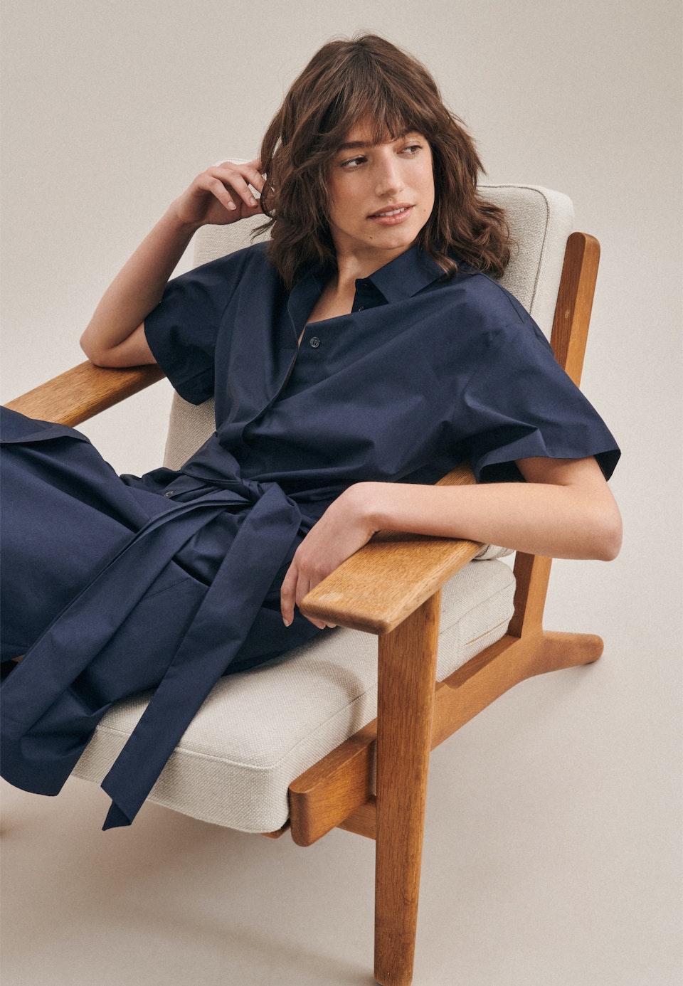 Popeline Midi Kleid aus 100% Baumwolle in Dunkelblau    Seidensticker Onlineshop