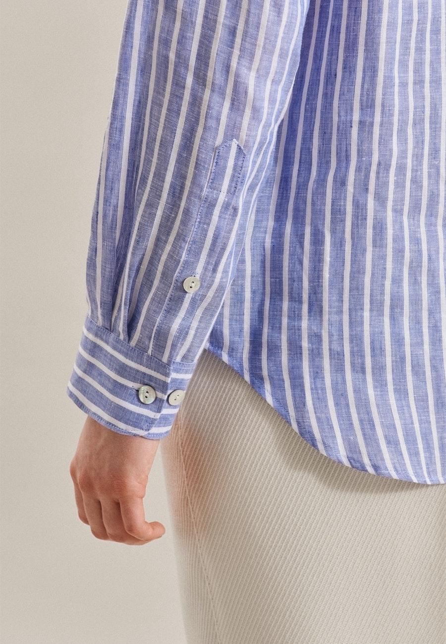 Leinen Shirt Blouse made of 100% Linen in Medium blue |  Seidensticker Onlineshop