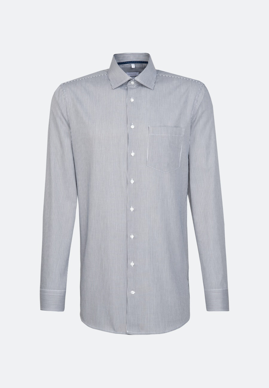 Bügelfreies Twill Business Hemd in Regular mit Kentkragen und extra langem Arm in Dunkelblau |  Seidensticker Onlineshop