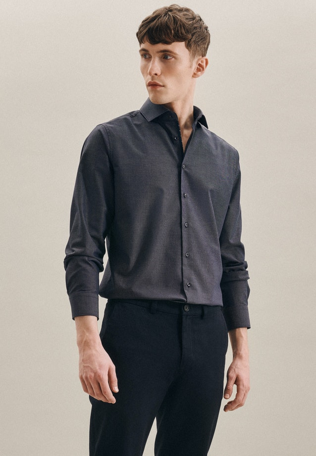 Non-iron Dobby Business Shirt in Slim with Kent-Collar in Dark blue |  Seidensticker Onlineshop