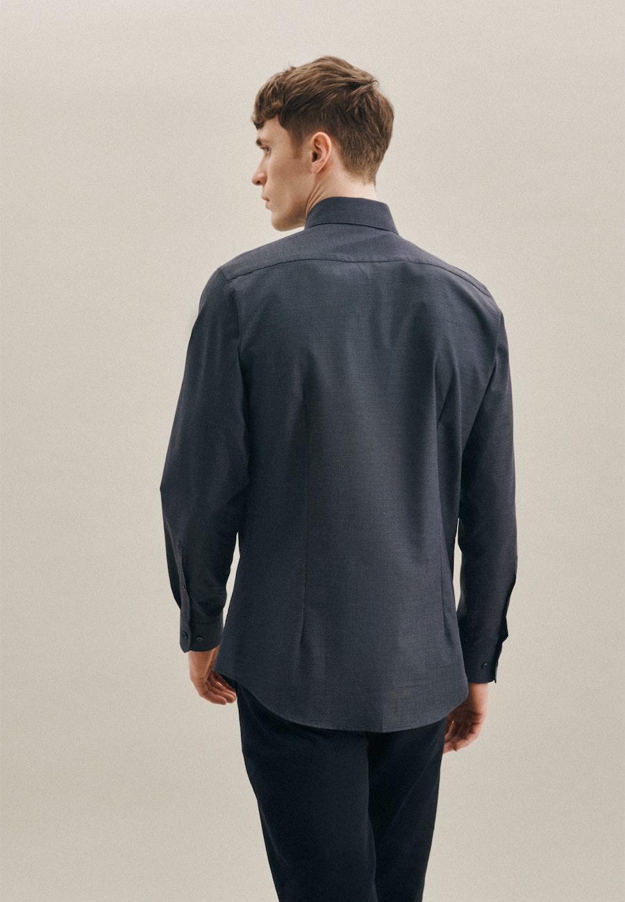 Non-iron Dobby Business Shirt in Slim with Kent-Collar in Dark blue |  Seidensticker Onlineshop