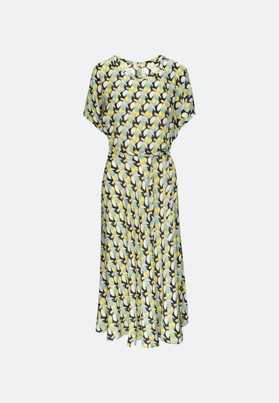 Popeline Midi Kleid aus 100% Viskose in Gelb |  Seidensticker Onlineshop