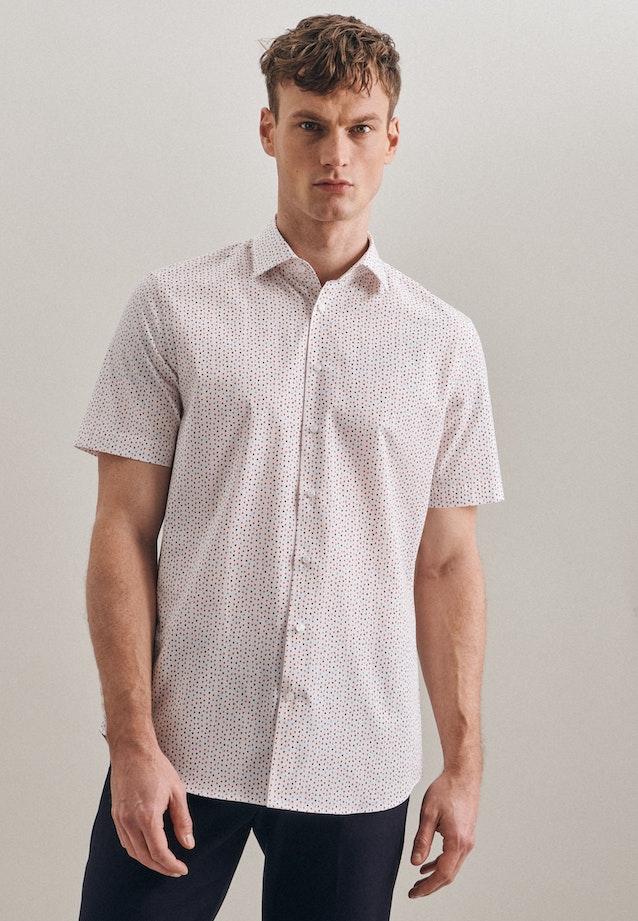 Bügelleichtes Popeline Kurzarm Business Hemd in Shaped mit Kentkragen in Rot    Seidensticker Onlineshop