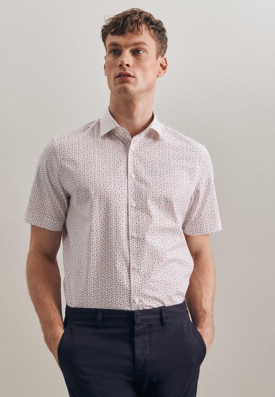 Bügelleichtes Popeline Kurzarm Business Hemd in Shaped mit Kentkragen in Rot |  Seidensticker Onlineshop