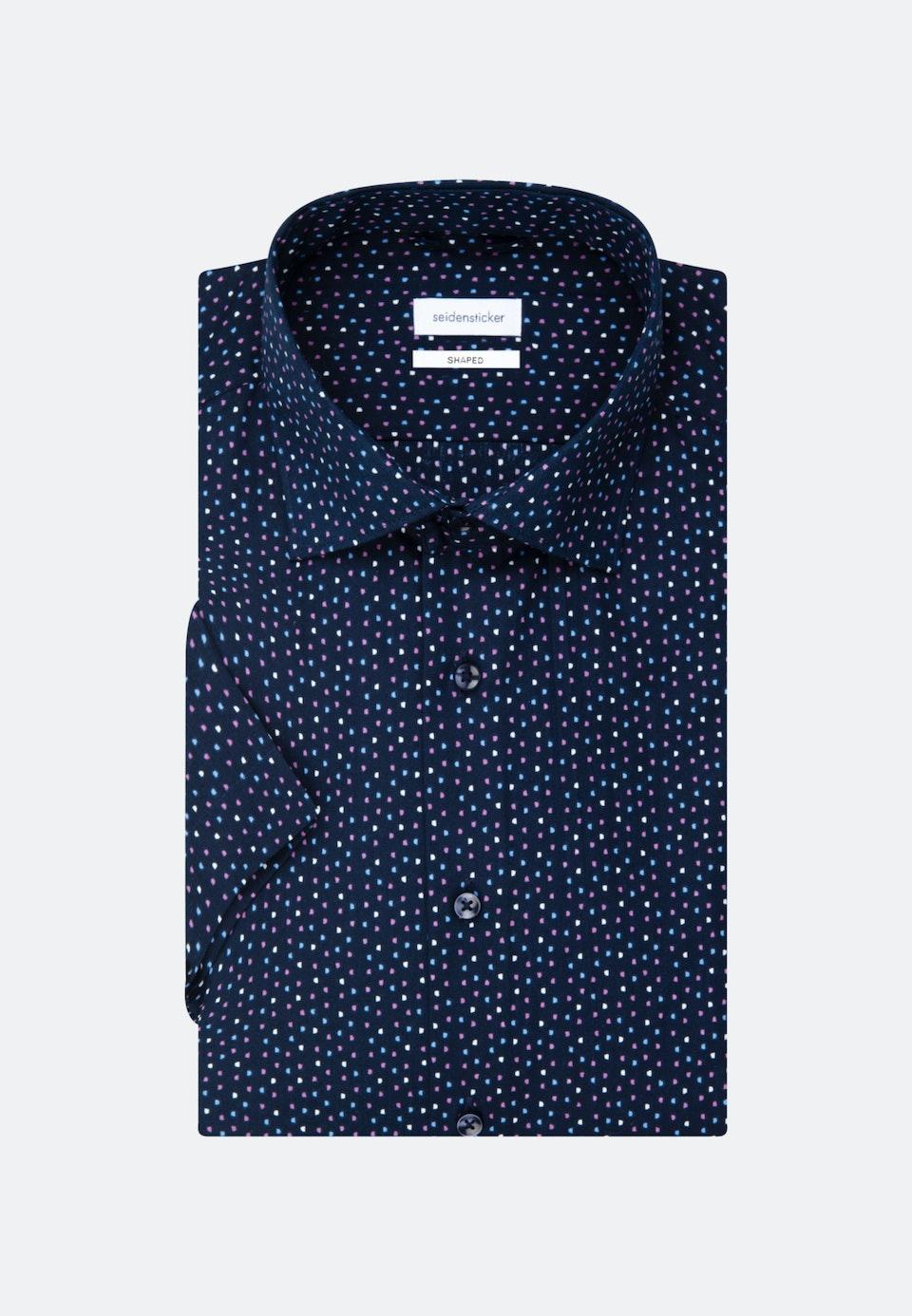Bügelleichtes Popeline Kurzarm Business Hemd in Shaped mit Kentkragen in Dunkelblau |  Seidensticker Onlineshop