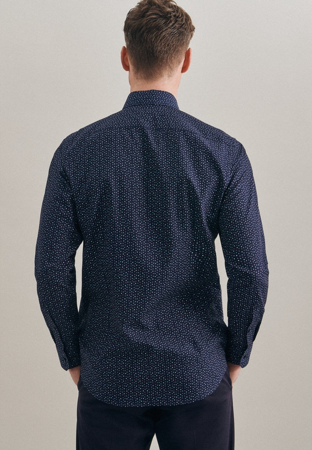 Bügelleichtes Popeline Business Hemd in Shaped mit Kentkragen in Dunkelblau    Seidensticker Onlineshop