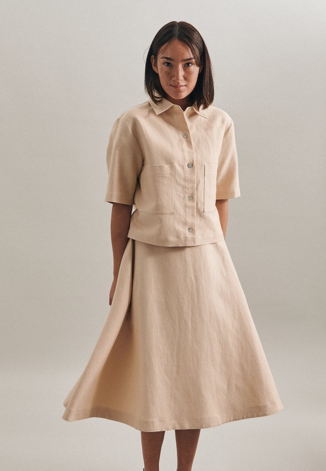 Short sleeve Leinen Jacket made of linen blend in Brown |  Seidensticker Onlineshop