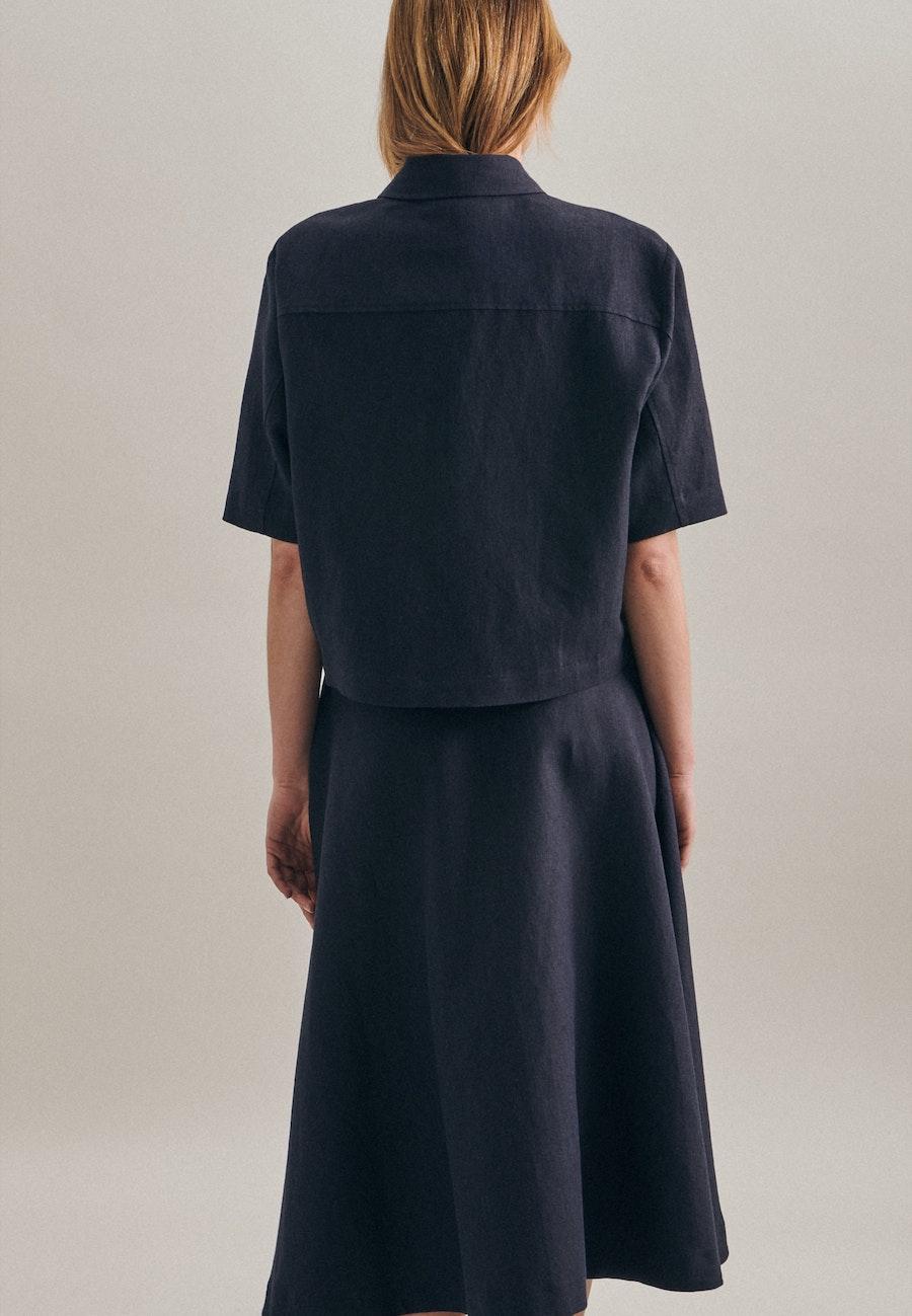 Kurzarm Leinen Jacke aus Leinenmischung in Dunkelblau |  Seidensticker Onlineshop