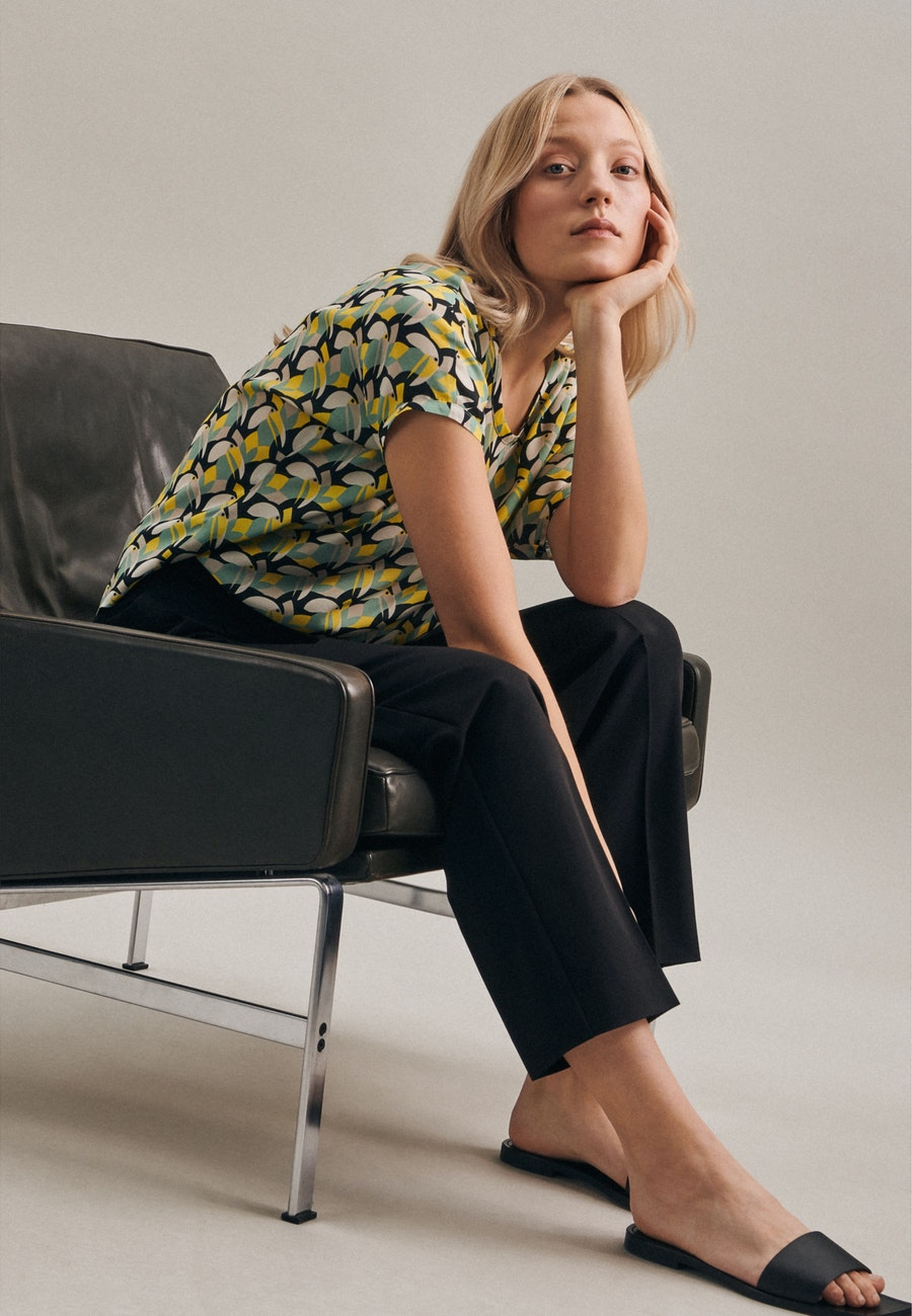 Short sleeve Popeline Shirt Blouse made of 100% Viscose in Yellow |  Seidensticker Onlineshop
