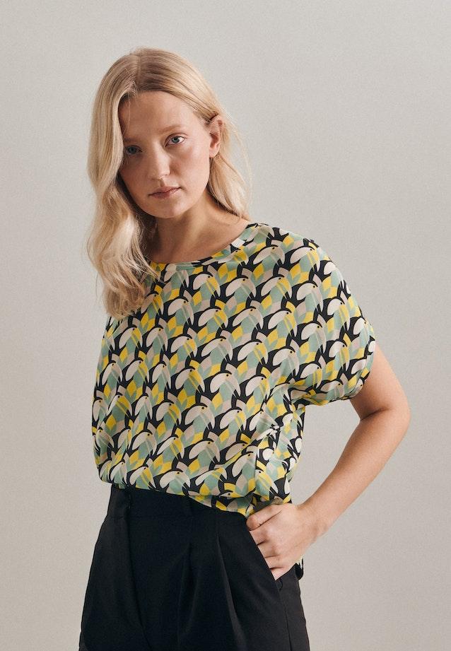 Kurzarm Popeline Shirtbluse aus 100% Viskose in Gelb |  Seidensticker Onlineshop