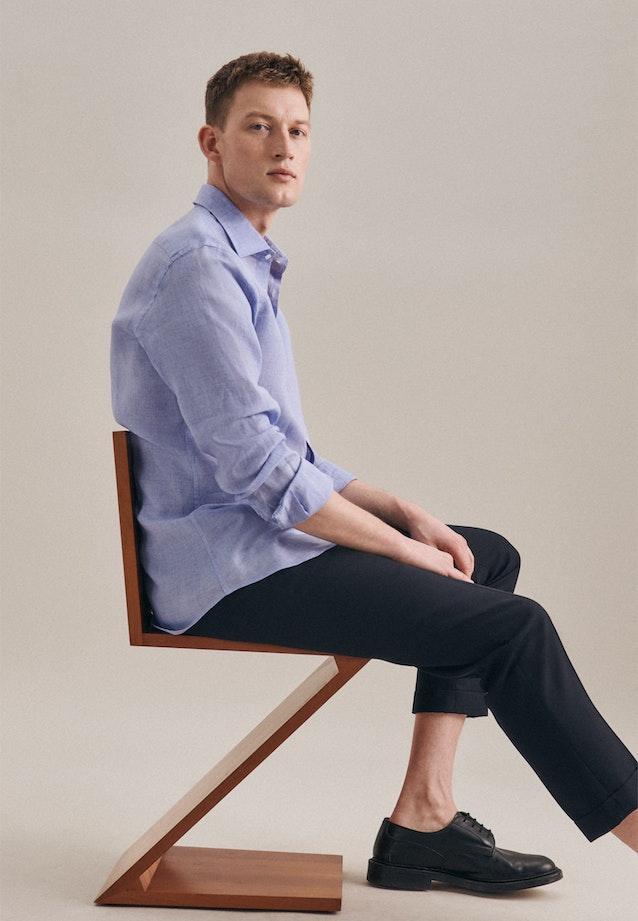Bügelleichtes Leinen Business Hemd in Shaped mit Kentkragen in Hellblau    Seidensticker Onlineshop