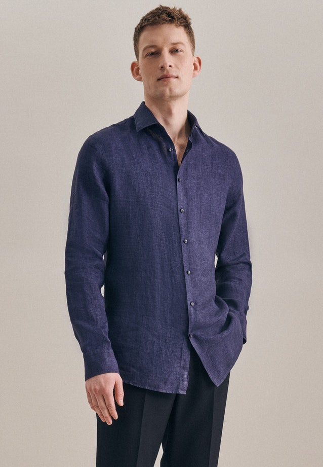 Easy-iron Leinen Business Shirt in Shaped with Kent-Collar in Dark blue |  Seidensticker Onlineshop