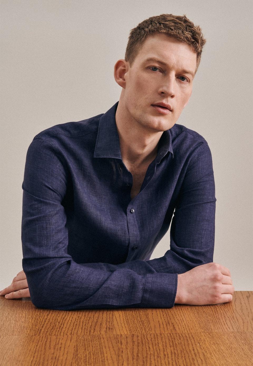 Linen Linen shirt in Shaped with Kent-Collar in Dark blue    Seidensticker Onlineshop