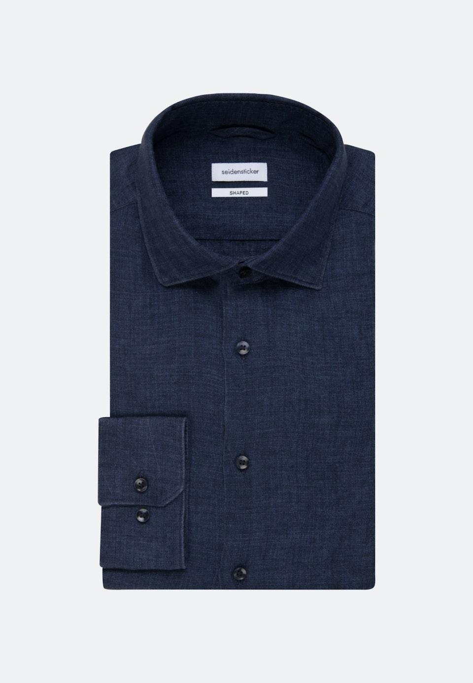 Bügelleichtes Leinen Business Hemd in Shaped mit Kentkragen in Dunkelblau |  Seidensticker Onlineshop
