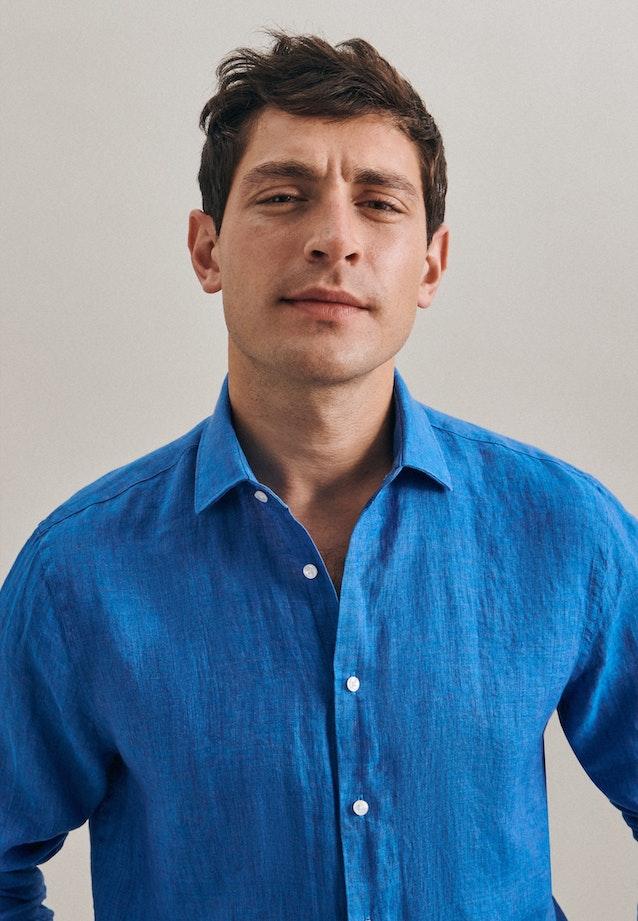 Leinen Leinenhemd in Slim mit Kentkragen in Türkis/Petrol    Seidensticker Onlineshop