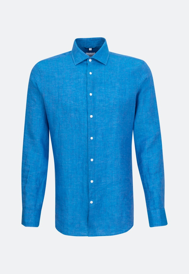 Easy-iron Leinen Business Shirt in Slim with Kent-Collar in Turquoise |  Seidensticker Onlineshop