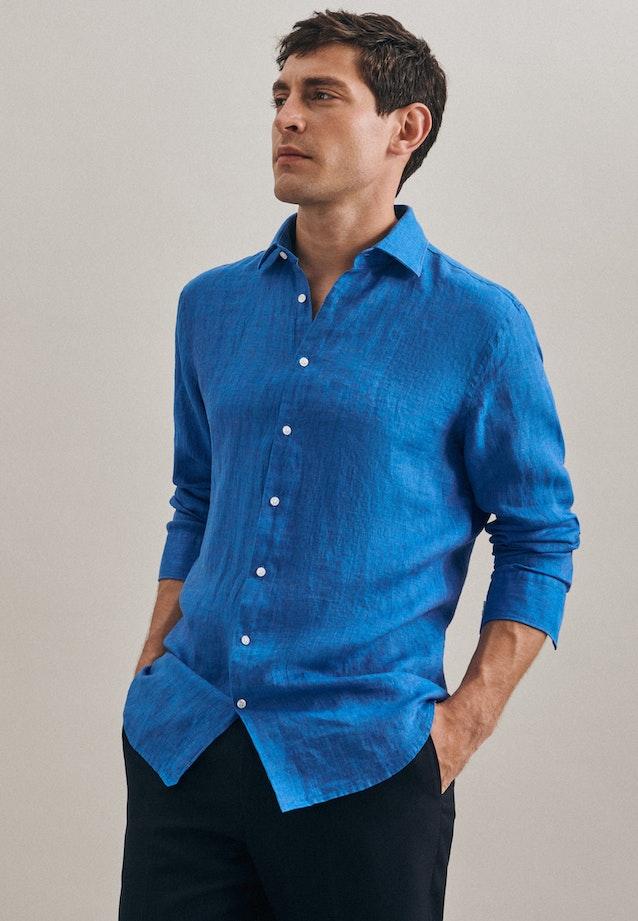 Bügelleichtes Leinen Business Hemd in Slim mit Kentkragen in Türkis/Petrol |  Seidensticker Onlineshop