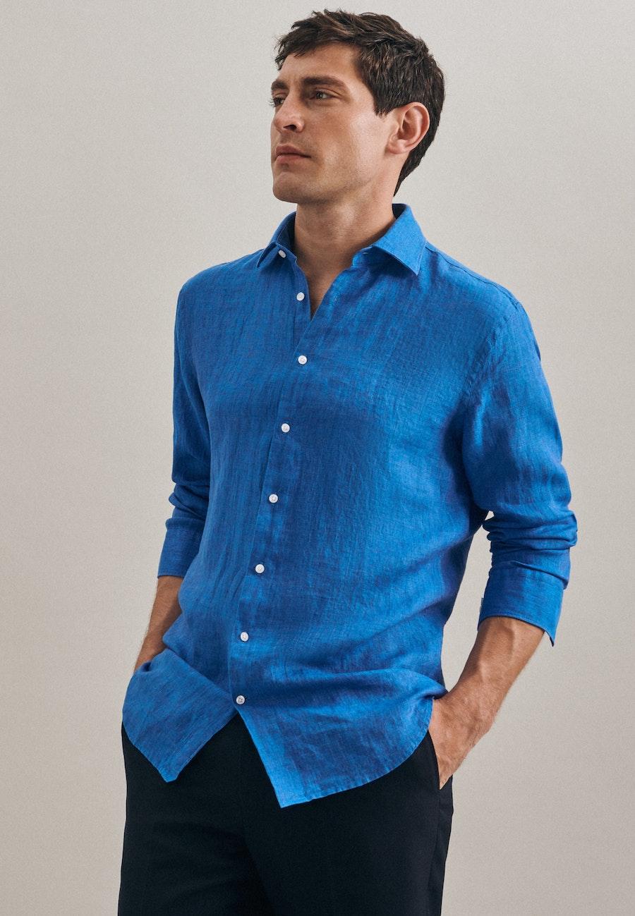 Bügelleichtes Leinen Business Hemd in Slim mit Kentkragen in Türkis/Petrol    Seidensticker Onlineshop