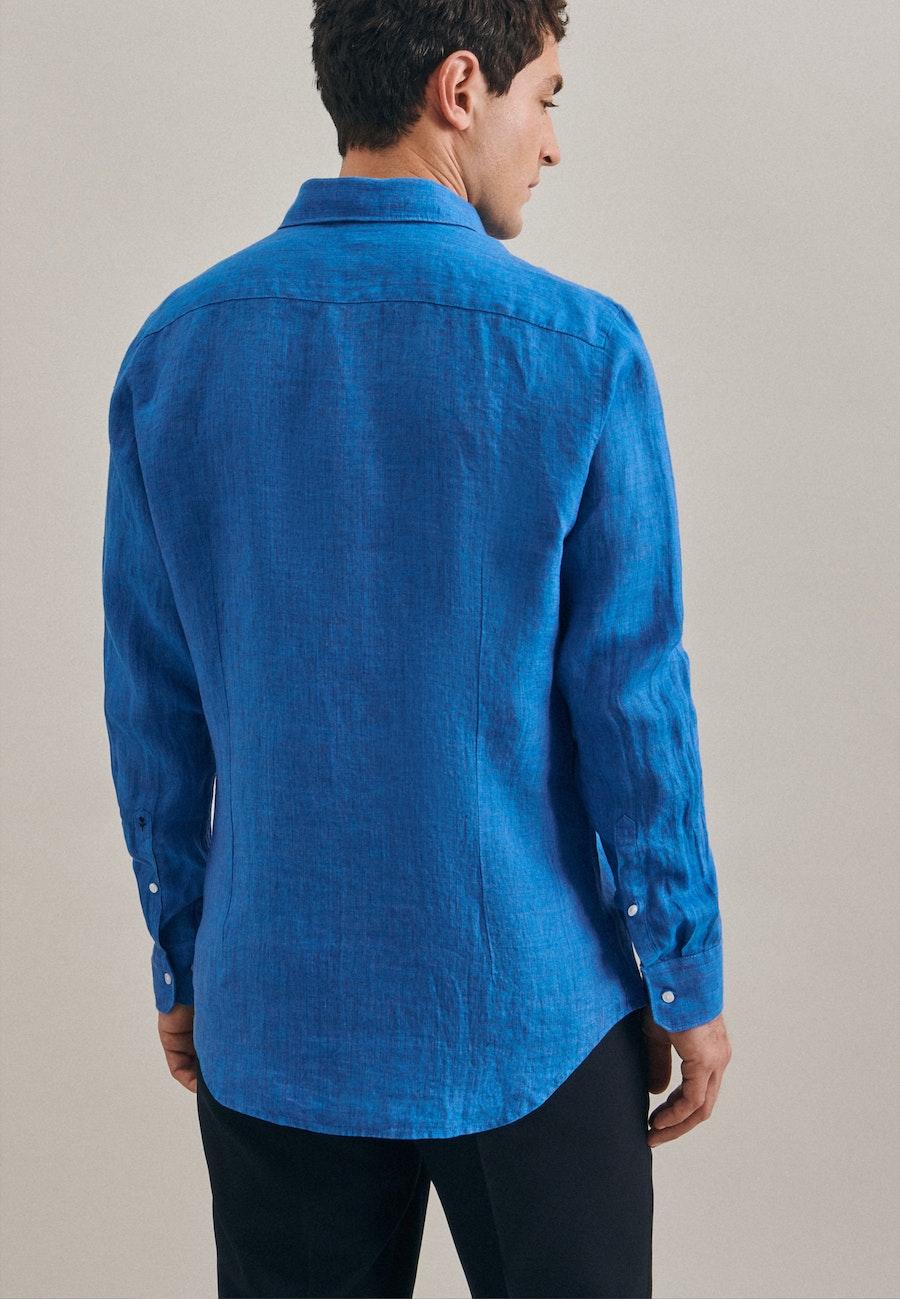Leinen Leinenhemd in Slim mit Kentkragen in Türkis/Petrol |  Seidensticker Onlineshop