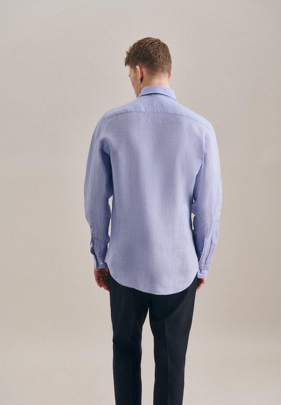 Easy-iron Leinen Business Shirt in Slim with Kent-Collar in Light blue |  Seidensticker Onlineshop