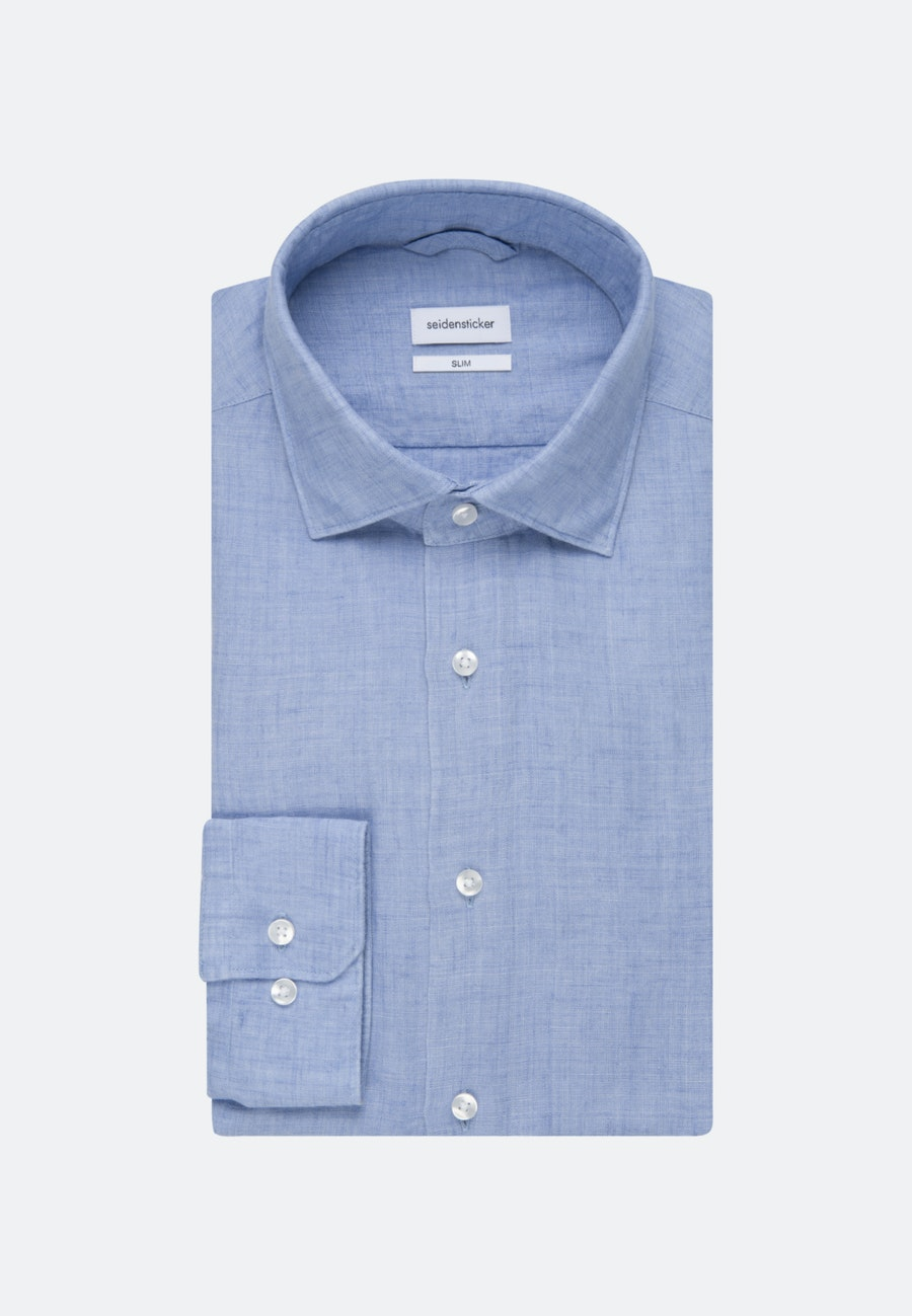 Bügelleichtes Leinen Business Hemd in Slim mit Kentkragen in Hellblau |  Seidensticker Onlineshop