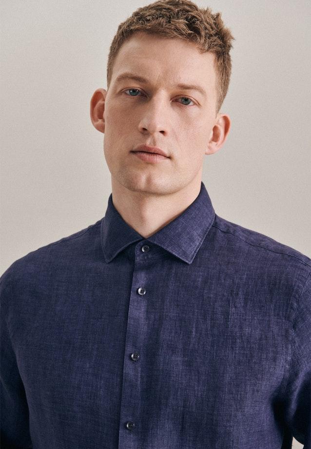 Leinen Leinenhemd in Slim mit Kentkragen in Dunkelblau    Seidensticker Onlineshop