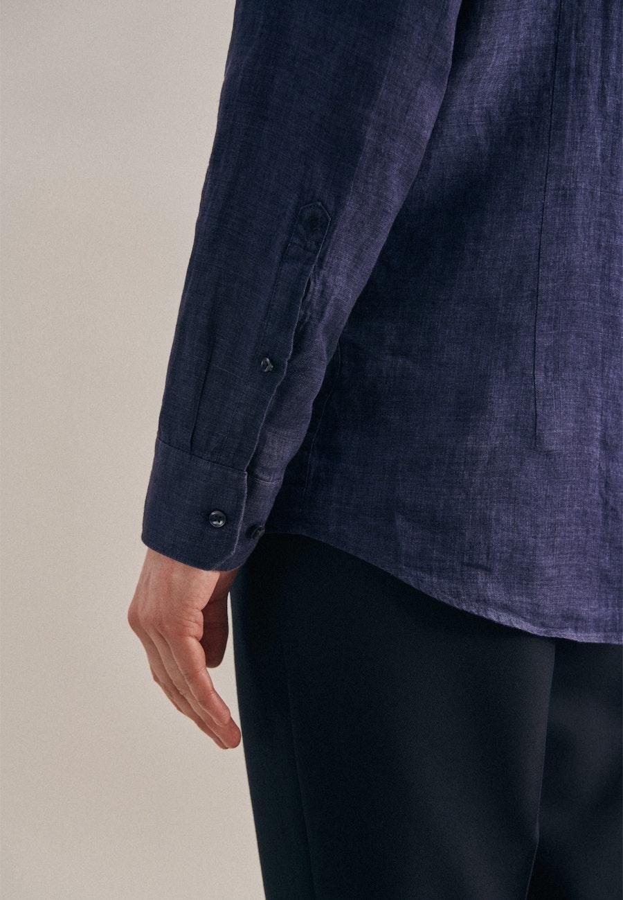 Leinen Leinenhemd in Slim mit Kentkragen in Dunkelblau |  Seidensticker Onlineshop