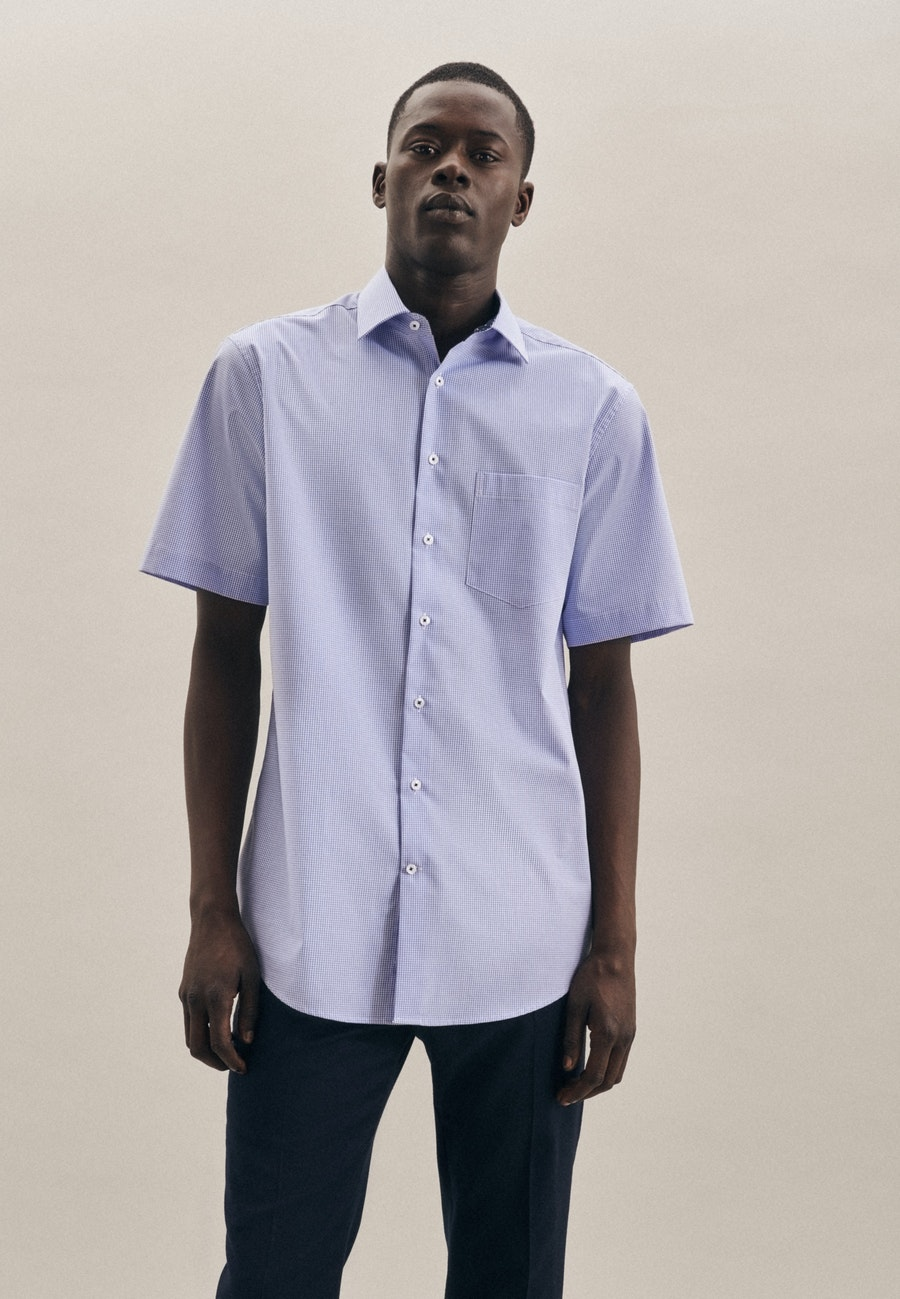 Non-iron Popeline Short sleeve Business Shirt in Regular with Kent-Collar in Light blue    Seidensticker Onlineshop