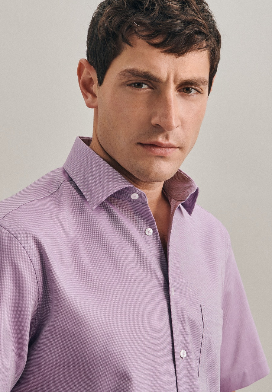 Non-iron Struktur Short sleeve Business Shirt in Regular with Kent-Collar in Purple    Seidensticker Onlineshop