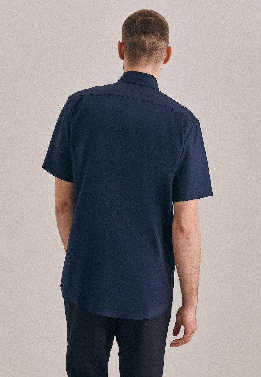 Bügelfreies Struktur Kurzarm Business Hemd in Regular mit Kentkragen in Dunkelblau |  Seidensticker Onlineshop