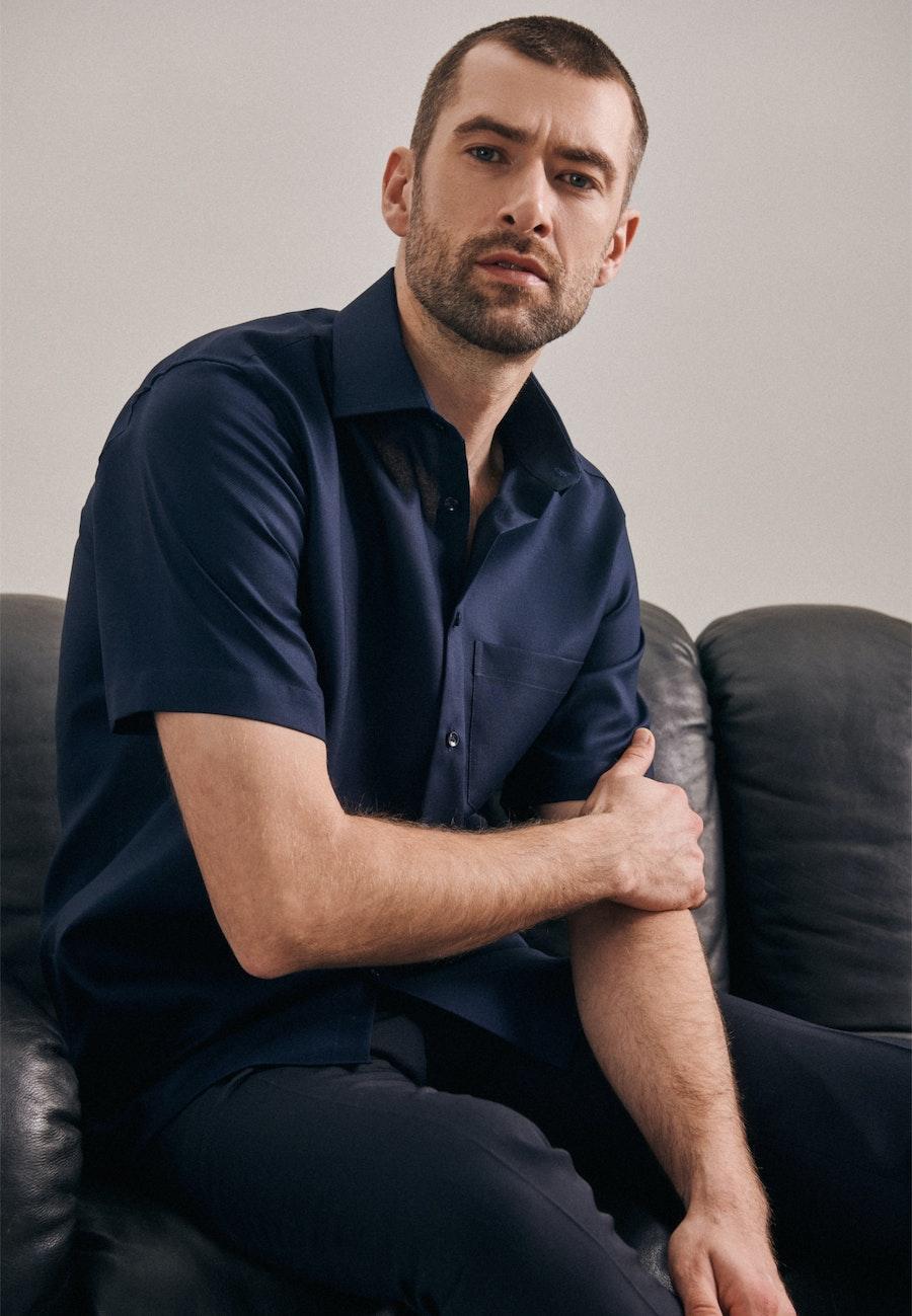 Non-iron Structure Short sleeve Business Shirt in Regular with Kent-Collar in Dark blue    Seidensticker Onlineshop