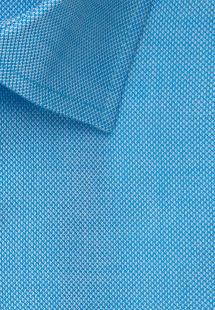 Bügelfreies Struktur Kurzarm Business Hemd in Regular mit Kentkragen in Türkis/Petrol    Seidensticker Onlineshop