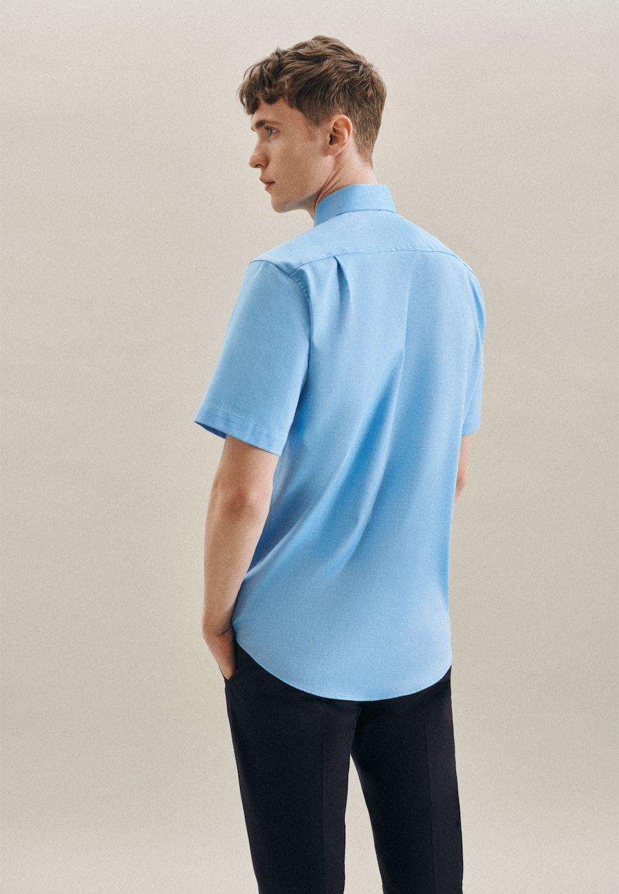 Non-iron Struktur Short sleeve Business Shirt in Regular with Kent-Collar in Turquoise    Seidensticker Onlineshop