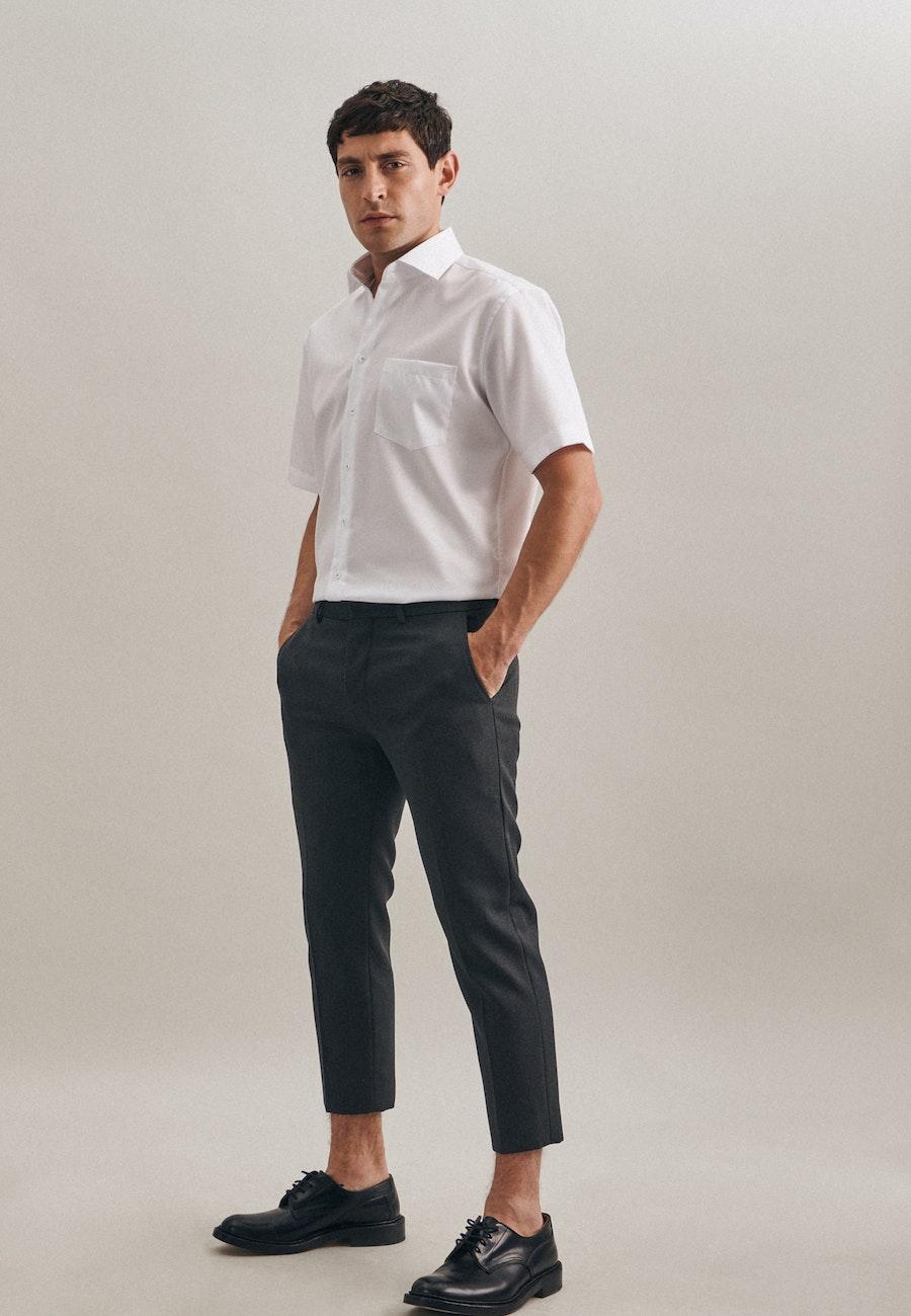 Bügelfreies Twill Kurzarm Business Hemd in Regular mit Kentkragen in Weiß |  Seidensticker Onlineshop