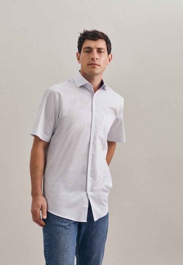 Bügelleichtes Twill Kurzarm Business Hemd in Regular mit Kentkragen in Weiß |  Seidensticker Onlineshop