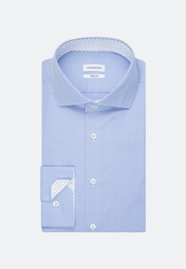 Non-iron Pepita Business Shirt in Slim with Kent-Collar in Light blue |  Seidensticker Onlineshop