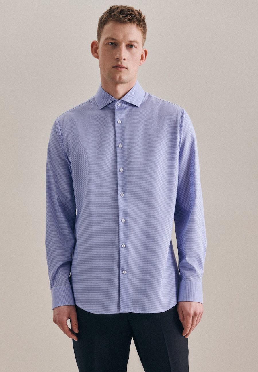 Non-iron Pepita Business Shirt in Slim with Kent-Collar in Light blue |  Seidensticker Onlineshop