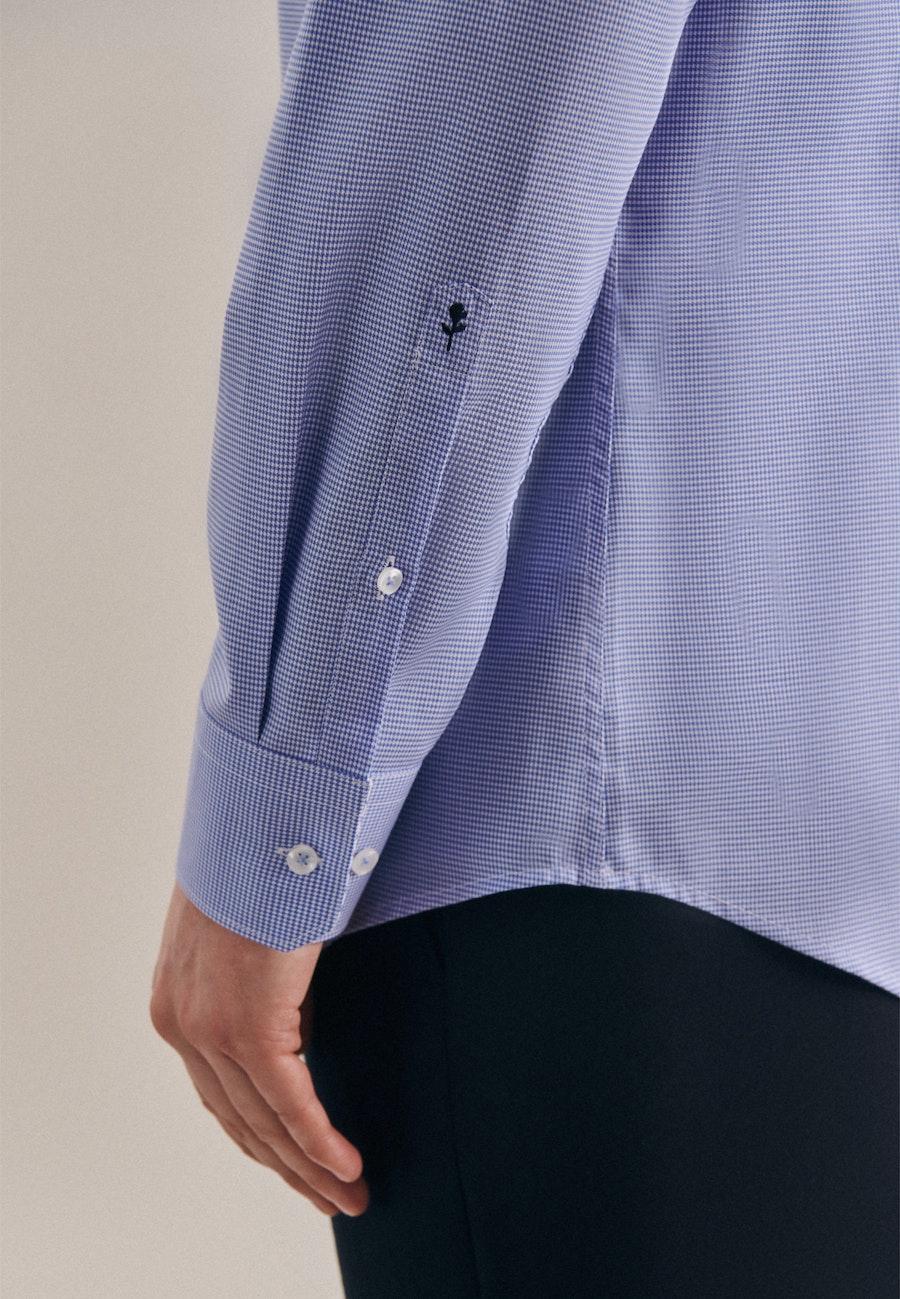 Bügelfreies Pepita Business Hemd in Slim mit Kentkragen in Hellblau |  Seidensticker Onlineshop