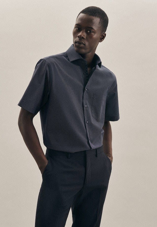 Non-iron Dobby Short sleeve Business Shirt in Regular with Kent-Collar in Dark blue |  Seidensticker Onlineshop